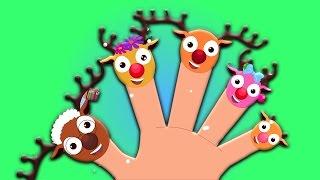 Familia del dedo del reno | navidad canción para niños | Feliz Navidad | Reindeer Finger Family