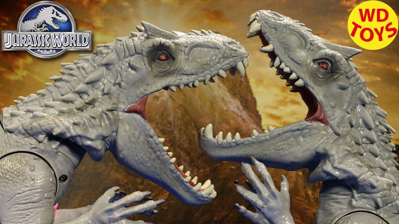 New Hybrid Indominus Rex vs Indominus Rex Jurassic World Dinosaur Battles -  WD Toys