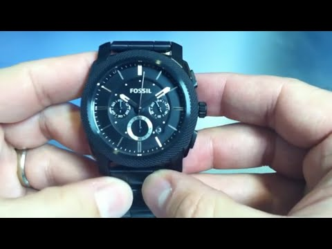 bf4707147 Fossil Black Ion Plated Chronograph Watch FS4552 - YouTube