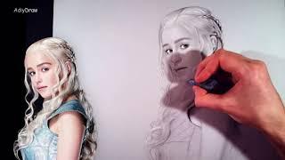 Урок №2 Как нарисовать портрет по фотографии! Emilia Clarke Drawing