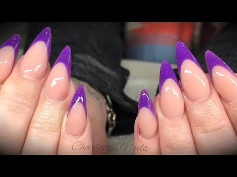 Acrylic Nails Reverse French With Coloured Tip