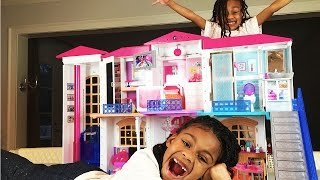 Funny Kids Disney Princess Magic!  Barbie Hello Dreamhouse