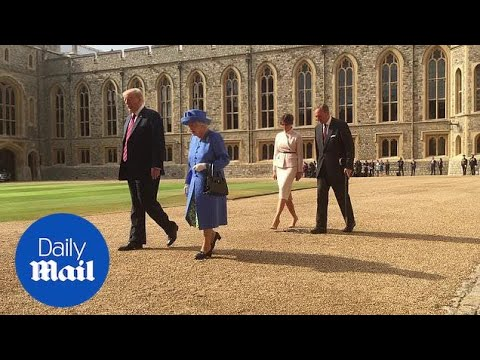 The Queen welcomes the Trumps to Windsor Castle - Daily Mail