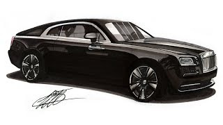 Realistic Car Drawing   Rolls Royce Wraith   Time Lapse