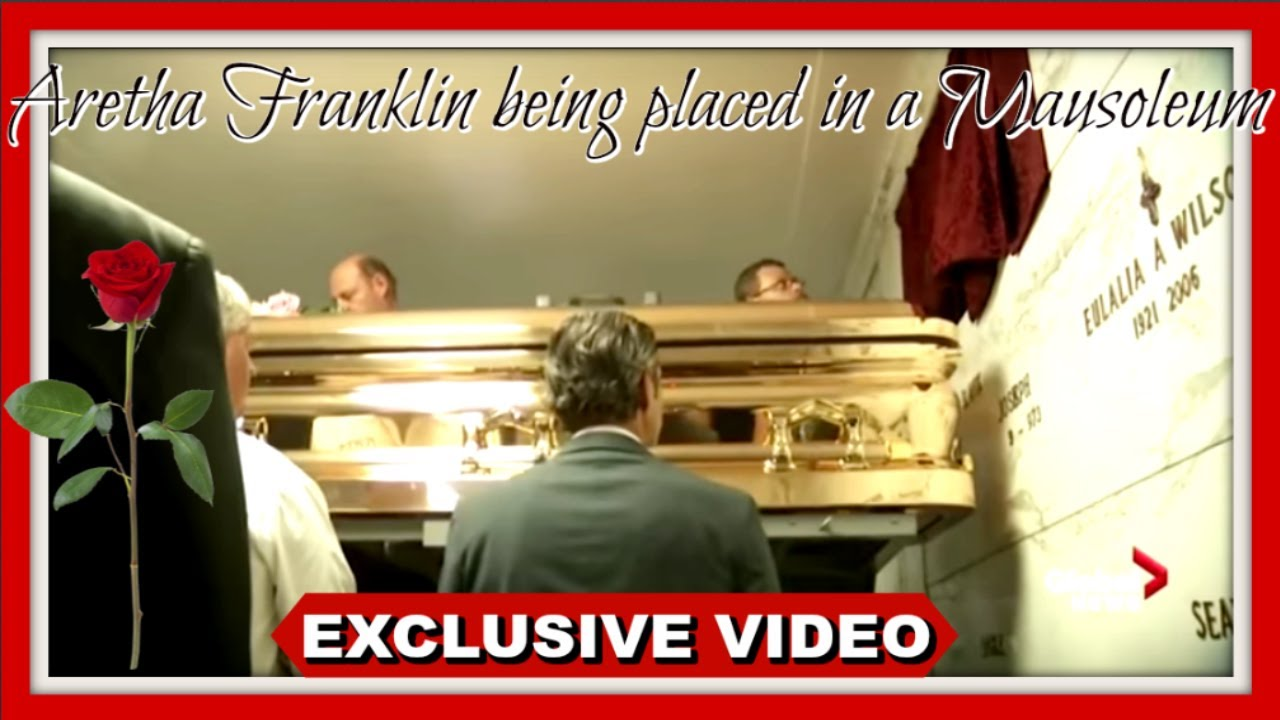 Aretha Franklin's body being placed in a (MASOLEUM) |