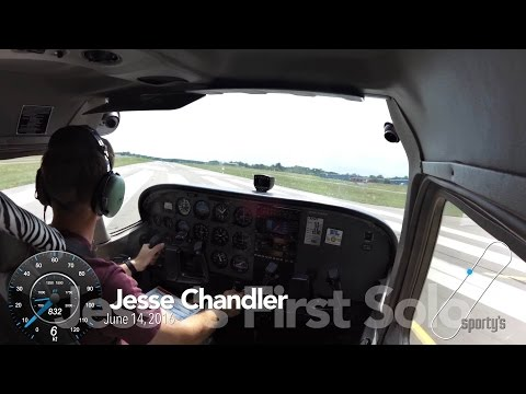 Jesse Chandler's first airplane solo at Sporty's Academy