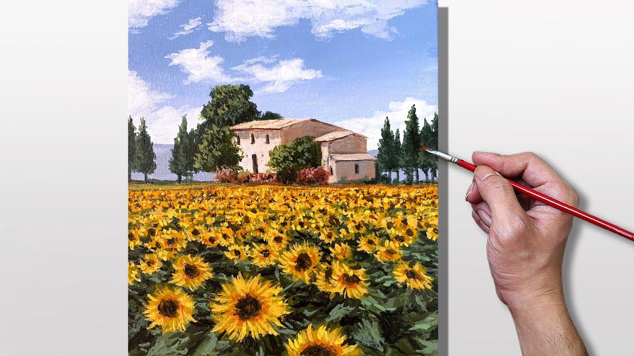 Acrylic Painting Sunflower Farm Landscape