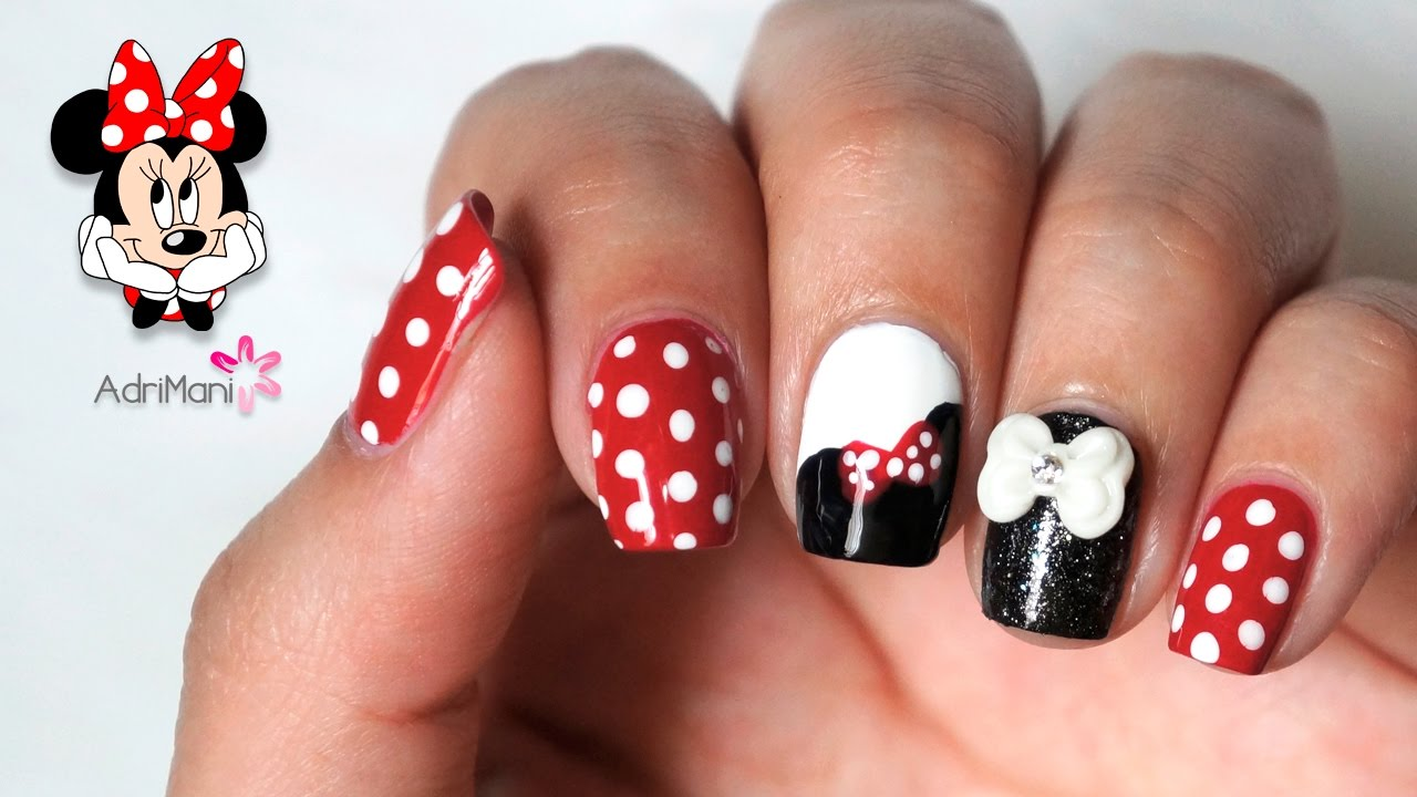 Diseño de uñas de Minnie Mouse - YouTube
