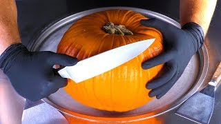 ASMR - Pumpkin Ice Cream Rolls | tapping & eating relaxing Sounds | oddly satisfying Halloween Video