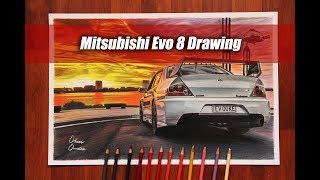 Sunset With Mitsubishi Evo 8 | Australia | JDM AWD CAR DRAWING