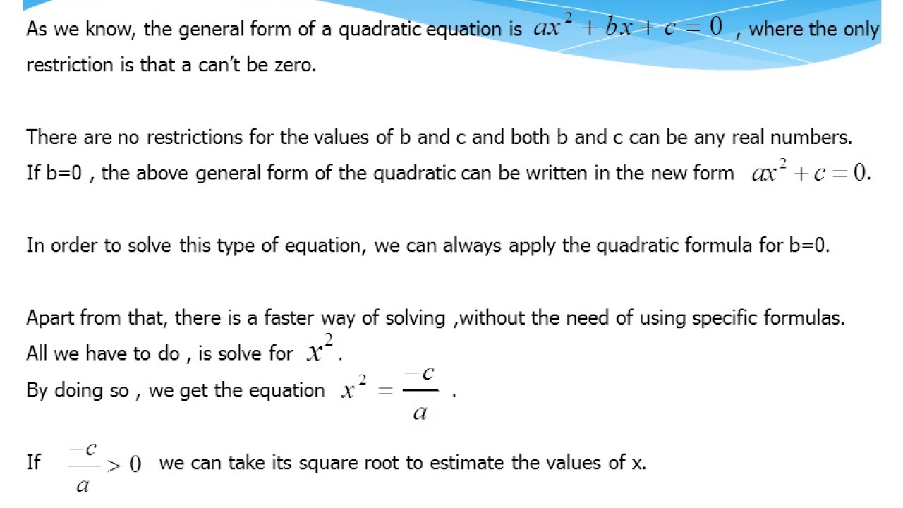 Worked Examples Of Quadratic Equations (when The Coefficient Of X Is Equal  To 0)