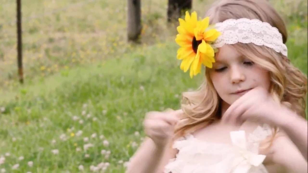 White Lace Flower Girl Dress w  Sunflower Headband - Princess Cute Boutique 31c21bc7a83