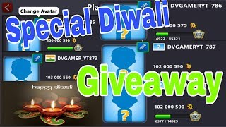 Diwali Special Giveaway💥❤ 100M coins 5 Accounts - 8 Ball Pool