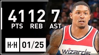 Bradley Beal Full Highlights Thunder vs Wizards (2018.01.25) - 41 Pts, 12 Reb, 7 Ast!