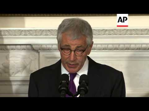 President Barack Obama says Defense Secretary Chuck Hagel has concluded it is an 'appropriate time'