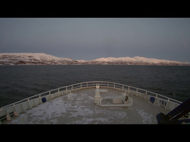 Relaxing realtime video of ship going north of the polar circle.