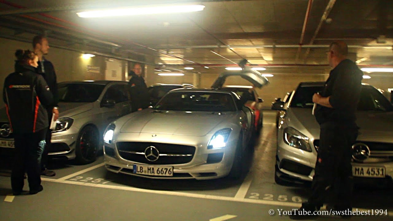 Mercedes benz sls amg playing in an underground car park for Mercedes benz parking