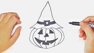 Halloween Drawings | How to draw a Cute Halloween pumpkin |