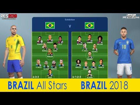 BRAZIL all stars Vs BRAZIL 2018   PES 2019 Experiment   Free Kick Goal Neymar Jr