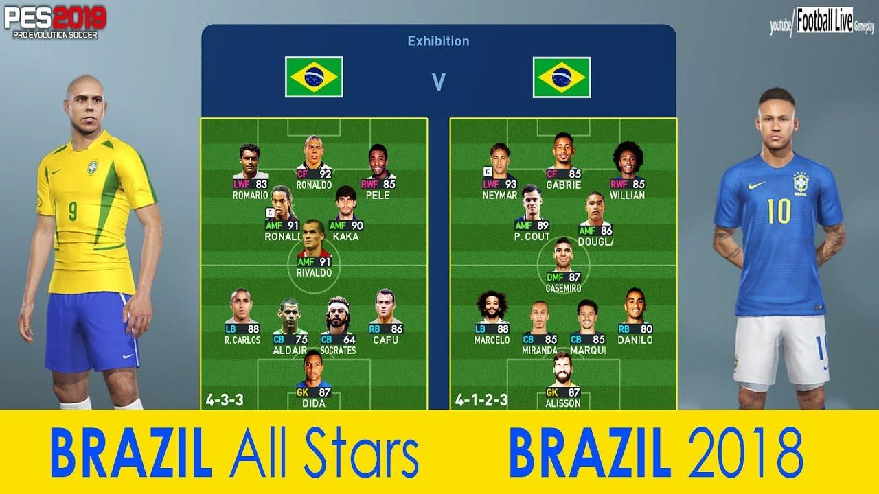 BRAZIL all stars Vs BRAZIL 2018 | PES 2019 Experiment | Free Kick Goal  Neymar Jr