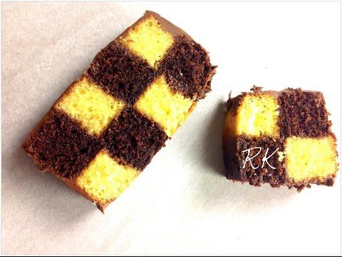 comment-faire-une-gâteau-damier-au-chocolat-et-à-la-vanille-avec-de-la-ganache-au-chocolat-au-lait