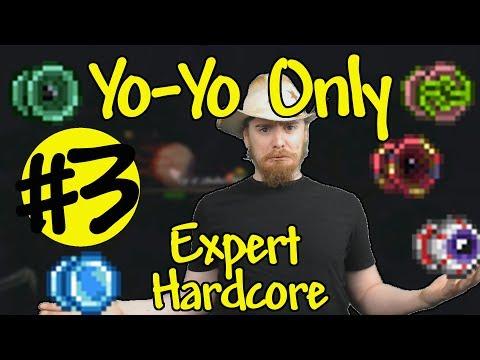 Terraria Yo-Yo Only Expert Hardcore #3 - Taking Fall Damage