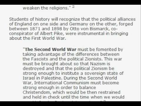 albert pike's letter to Mazzini in 1871, 3 world wars.   YouTube