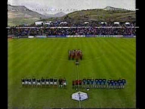 Faroes - Scotland 1-1. Euro 2000 qualifiers. 1st half. Scots score and go down to ten...