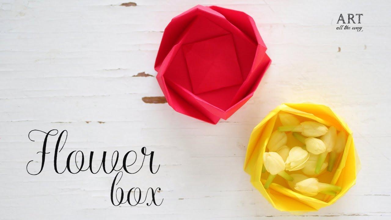 Diy paper flower box origami box paper folding youtube diy paper flower box origami box paper folding mightylinksfo