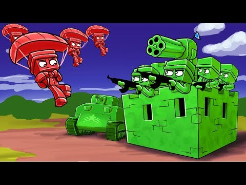 Minecraft | RED ARMY STARTS WAR WITH THE GREEN ARMY! (Army Soldiers Fort Wars)