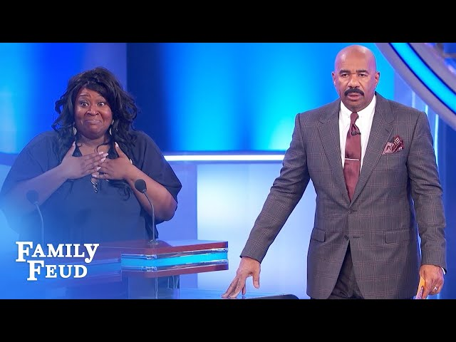 Hot! Steve Harvey likes a woman who likes to play this! | Family Feud