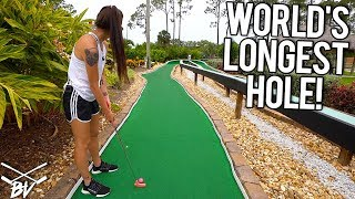 THE LONGEST MINI GOLF HOLE IN THE WORLD! - MINI GOLF HOLE IN ONES AND CRAZY HOLES!