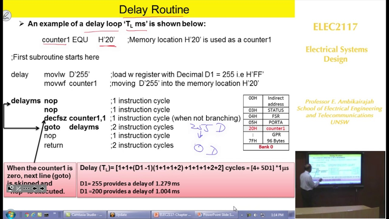 Embedded Systems - Chap 4 - Timing Delay Routines - Professor E. Ambikairajah - UNSW Sydney