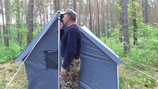 Обзор: Палатка самодельная с печным отоплением.