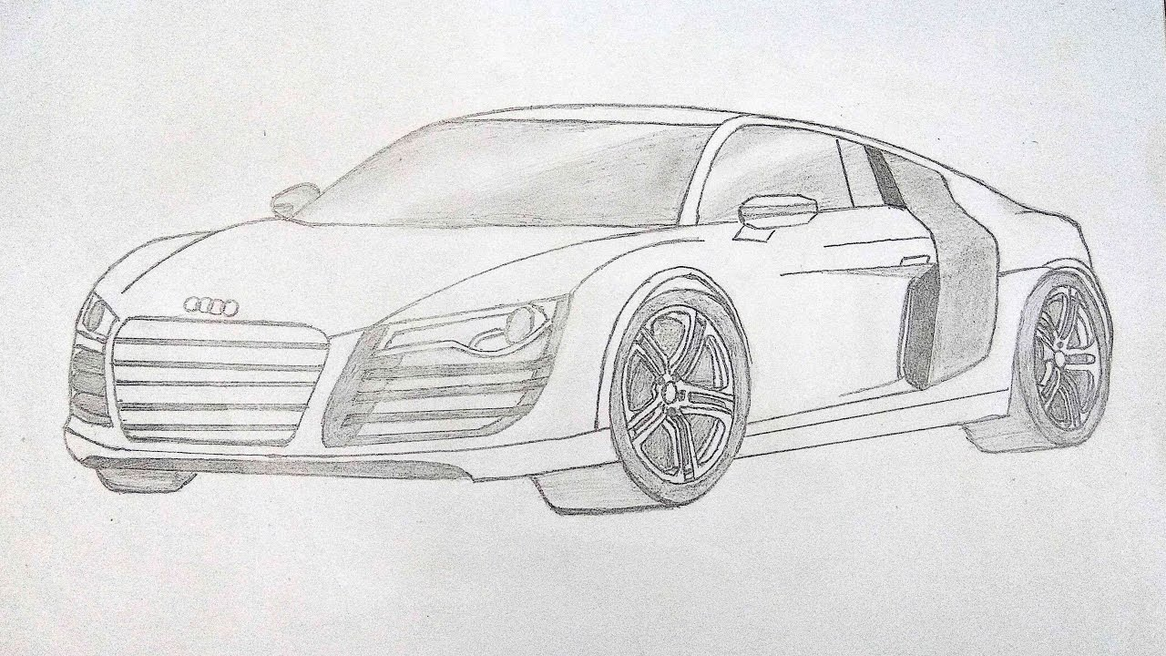 How To Draw Audi R8 Easily Step By Step Pencil Drawing