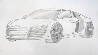 How To Draw AUDI R8 Easily | step by step | pencil drawing