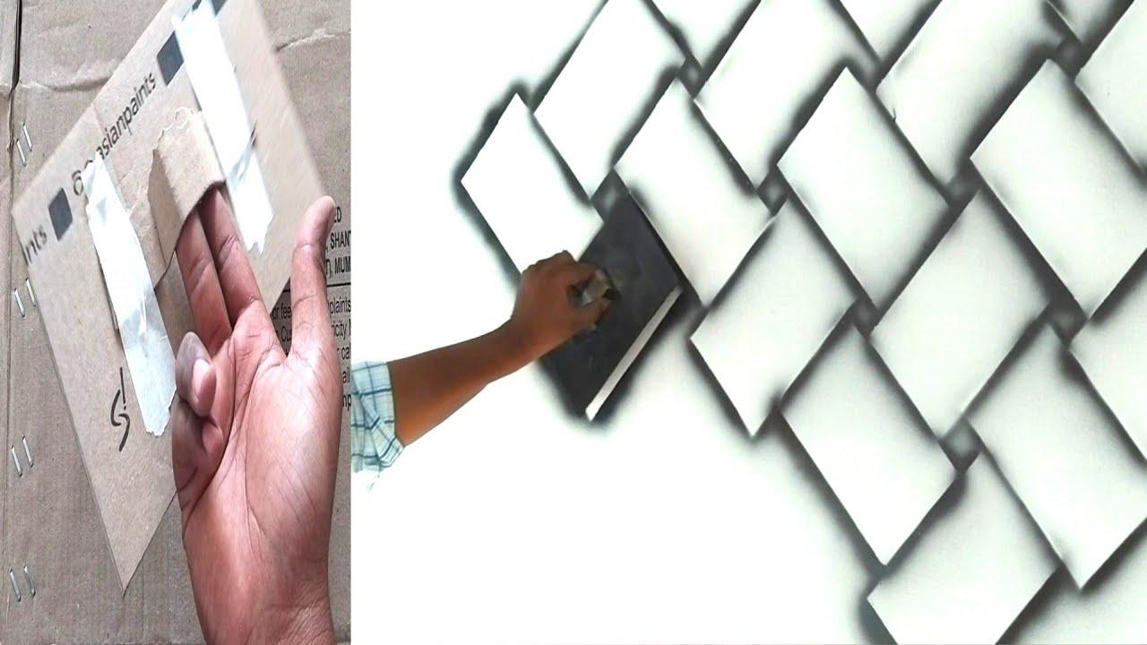 How to make brick wall easy method using black spray - YouTube