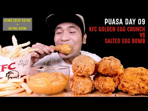 PUASA DAY 09: KFC Golden Egg Crunch VS Dipping Salted Egg Bomb | EATING SHOW W/ ASMR MALAYSIA 🇲🇾