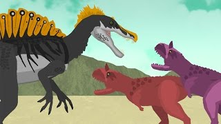 Dinosaurs Cartoons Battles: Spinosaurus vs Carnotaurus. Динозавры Мультфильм DinoMania