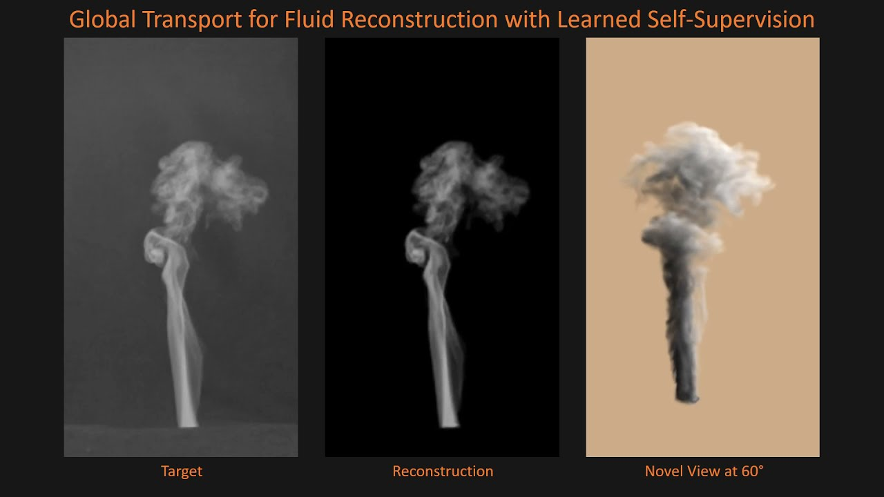 Global Transport for Fluid Reconstruction with Learned Self-Supervision (CVPR 2021 Video)