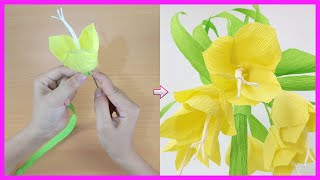How To Make  Fritillaria imperialis Paper Flower From Crepe Paper | DIY Paper Craft