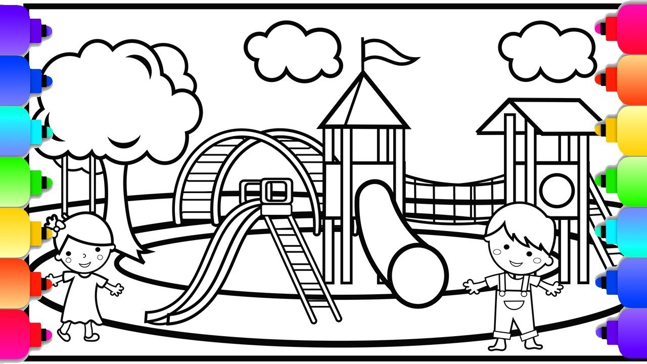 Learn How To Draw And Color A Playground Coloring Page