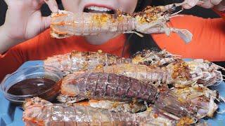 ASMR BLUE MANTIS SHRIMPS STIR FRIED GARLIC AND CHILI PEPPER EATING SOUNDS | LINH-ASMR 먹방 mukbang bj