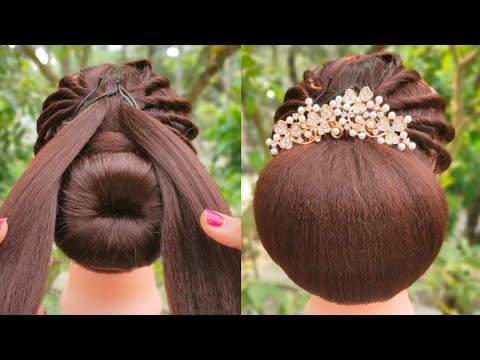 latest-juda-hairstyle-with-using-donut-||-easy-hairstyle-||-party-hairstyle-||-occasion-hairstyle-||