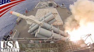 ハープーン対艦ミサイル 駆逐艦からの発射映像 [HD]