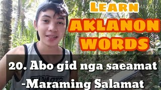 Aklanon Words Tutorial | Part1 | John Del Masinda Vlog