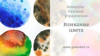 Акварель: базовые упражнения. Вливание цвета. Урок 1.(Релаксирующие упражнения для знакомства и наблюдением за свойствами акварели: как акварель взаимодейству..., 2015-05-15T13:20:08.000Z)