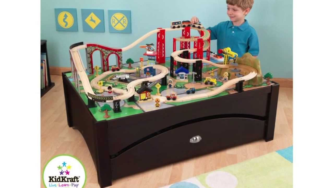 KidKraft Metropolis 100-Piece Wooden Train Table Set | 17935 - YouTube