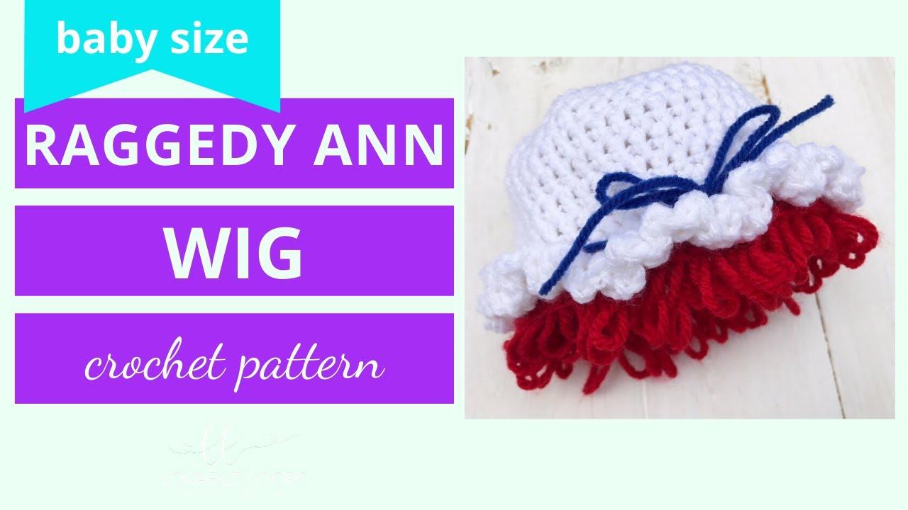Raggedy Ann Hat Wig Crochet Tutorial  508a456dfdf