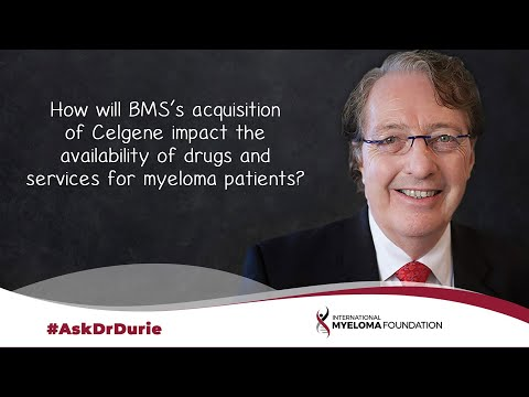 How will BMS's acquisition of Celgene impact the availability of drugs and services for myeloma pts?